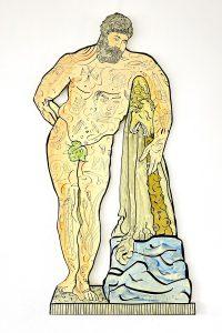 Herkules, Emaillemalerei auf Stahl, 2014, 174 x 84 cm